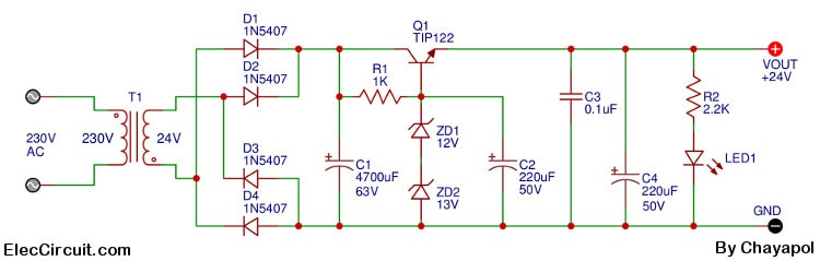 24v 2a power supply circuit diagram eleccircuit com24v 2a power supply circuit