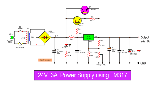 24V 3A Regulator circuit using LM317 and 2N3055