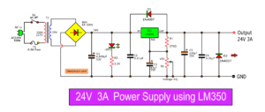 24V 3A Regulator circuit using LM350