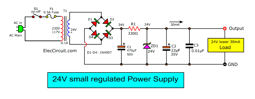 9 ways to build 24v power supply circuits with easy parts  eleccircuit.com