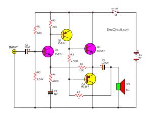 4 transistor audio amplifier circuit