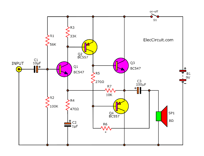 4 transistor audio amplifier circuit