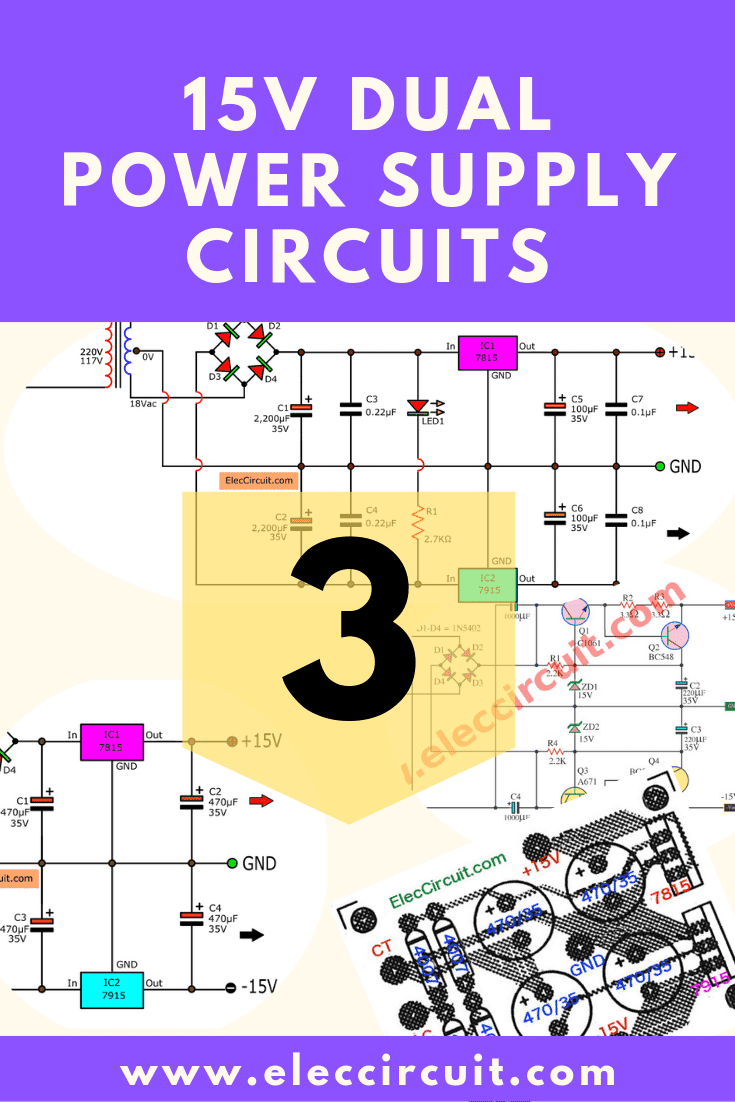 dual 15v power supply schematic with pcb, 15v 15v 1a eleccircuitcomponents layout of 15v dual regulator using 7815 7915