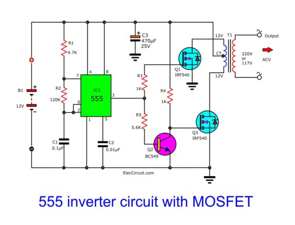 555 inverter circuit diagram with MOSFET