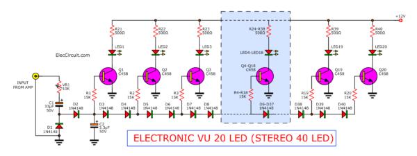 40 LED VU meter transistor