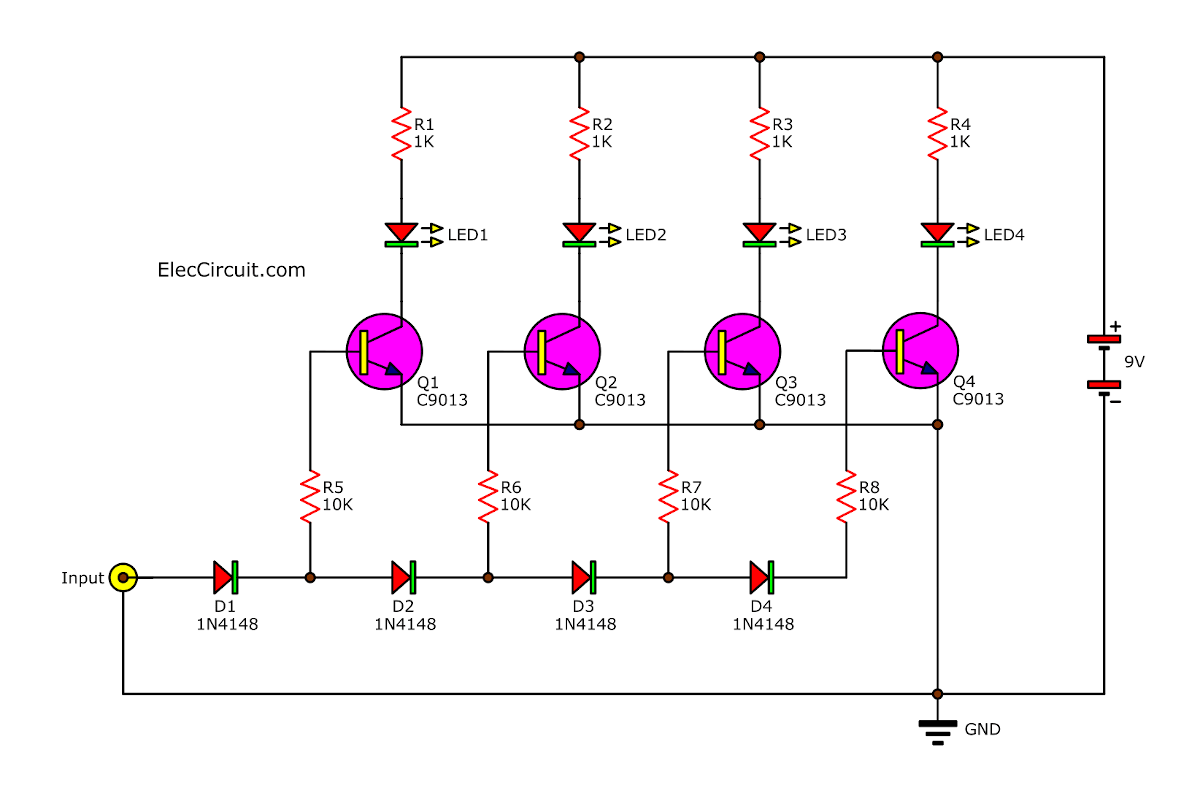og LED VU meter circuit using transistors | Vu Meter Schematic Diagram on generator schematic, compressor schematic, ph meter schematic, oscilloscope schematic, tone control schematic, transistor tester schematic, mixer schematic, multimeter schematic, voltmeter schematic, sensor schematic, lc meter schematic, capacitance meter schematic, amplifier schematic, analog meter schematic, lcd schematic, distortion schematic, lm3915 schematic, variac schematic, led schematic, current transformer schematic,