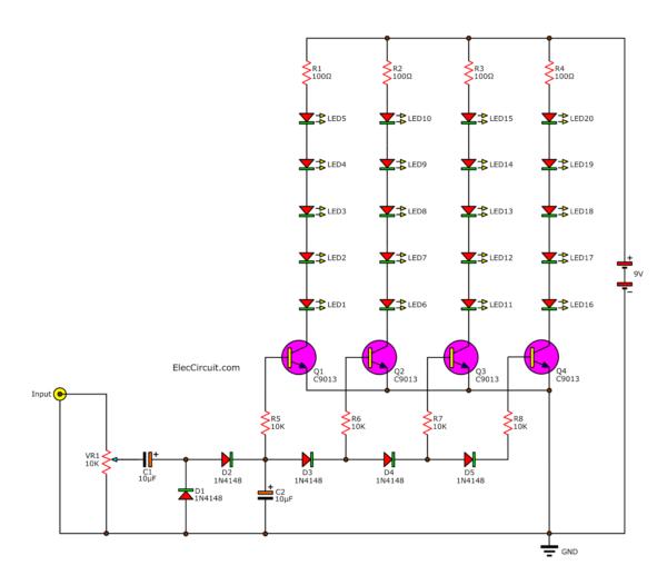 25 LEDs Analog VU Meter Circuit using transistors