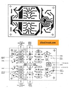 PCB layout of Pre Tone Control Stereo (bass-mid range-treble)