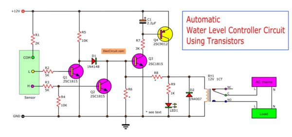 Automatic water level controller circuit using transistors