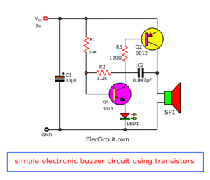 simple electronic buzzer circuit using two-transistor