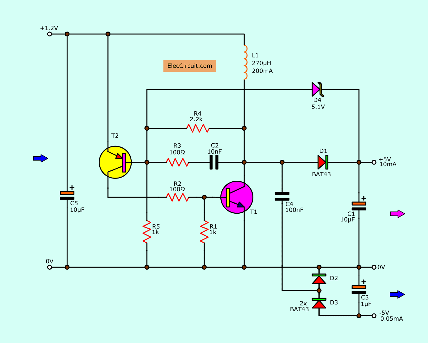 1.5V to 5V boost converter circuit  for micro computer