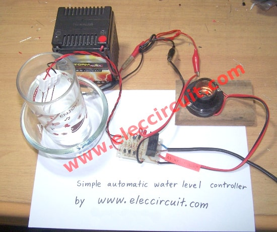 Automatic water level controller circuit project - ElecCircuit.com