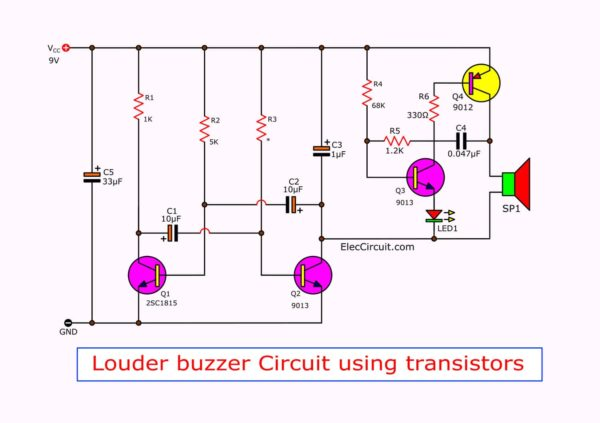 trembling sound buzzer circuit using transistors