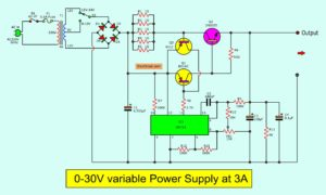 The 0-30v variable power supply circuit diagram