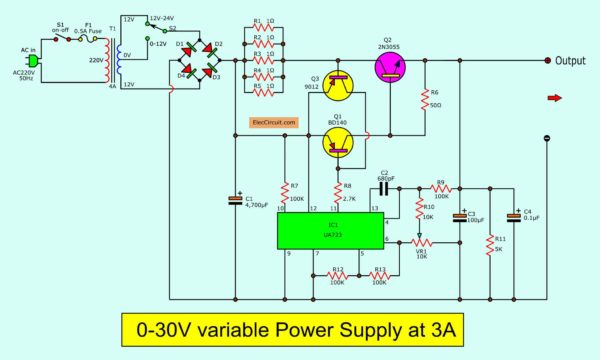 adjustable power supply wiring diagram uninterruptible power supply wiring diagram 0-30v variable power supply circuit diagram at 3a ...