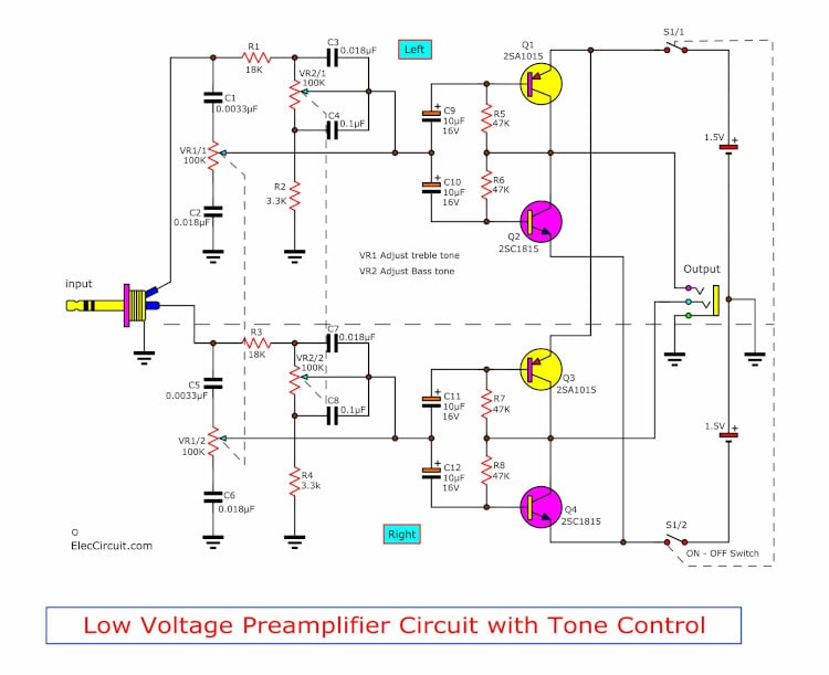 Low volts stereo preamplifier with tone control circuit