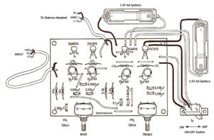 Components layout of stereo headset bass treble tone control circuit