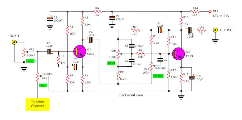 2 transistor pre tone control circuit diagram