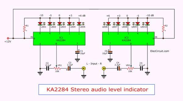 KA2284 Stereo audio level indicator