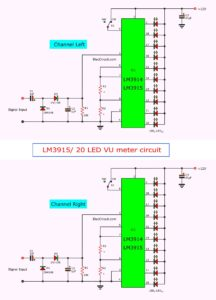 LM3915/ 20 LED VU meter circuit