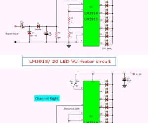 VU meter circuit Stereo/Mono 20 LED with PCB