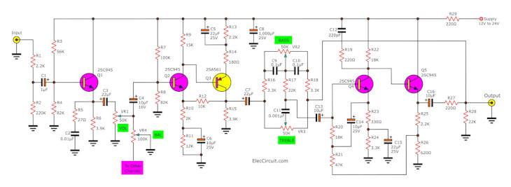 Pre amplifier tone control circuit using 5 transistors