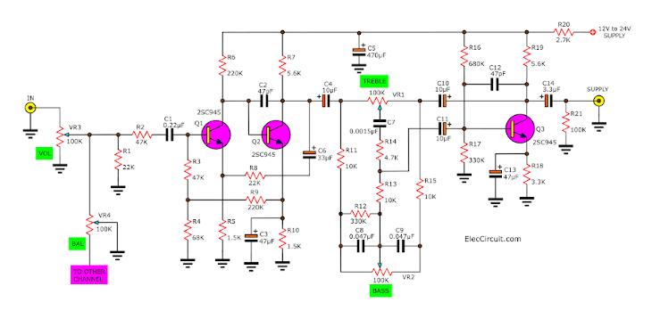 audio tone control circuit using transistor