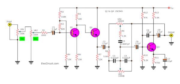 small preamplifier tone control circuit