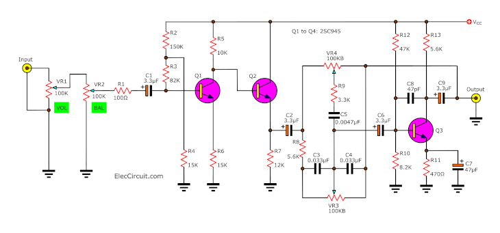 Simple tone control circuit projects for electronic students -EC
