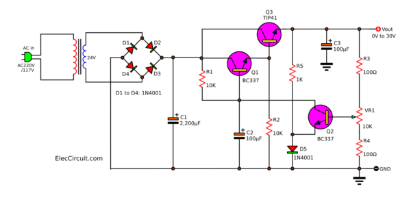 0-30V 1A transistor variable regulator circuit