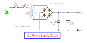 12VDC Power supply circuit of 20 watts Integrated Amplifier