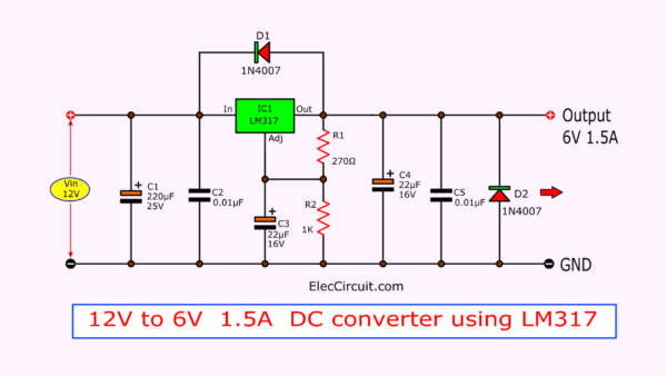 12V to 6V at 1.5A DC converter using LM317