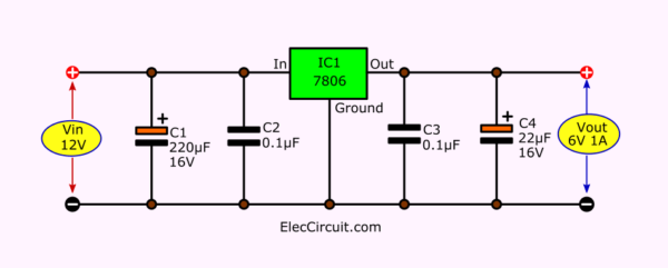 12V to 6V step down circuit using 7806