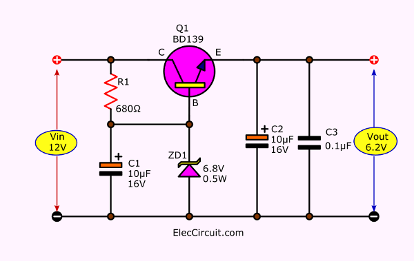 6.2V Zener diode-transistor series regulator