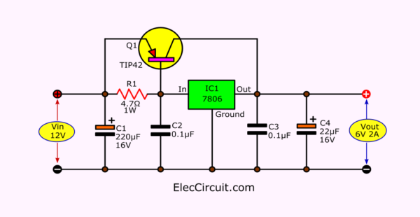 6V 2A to 5A output converter using 7806 - transistor