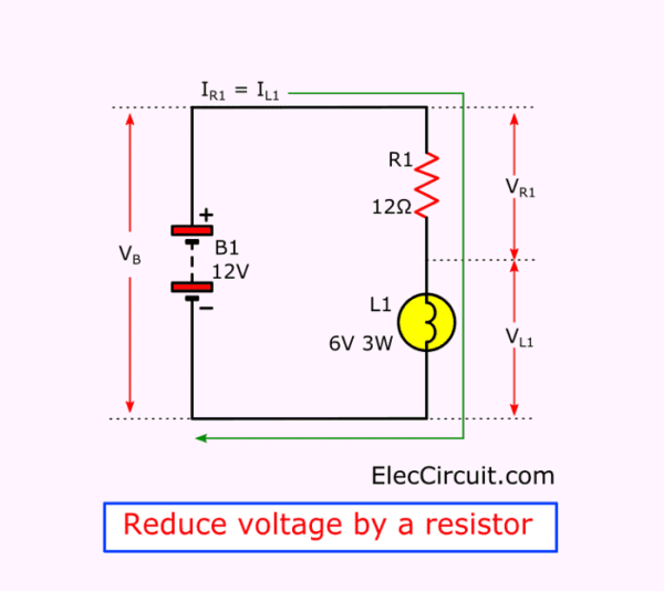 Reduce voltage by a resistor