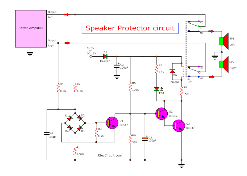 The tweeter speaker protection circuit - ElecCircuit.com on
