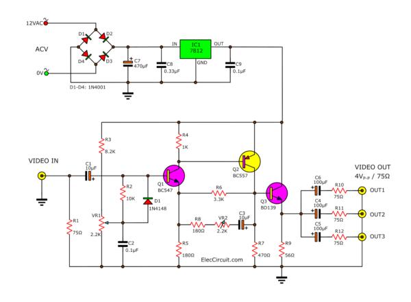 Video amplifier circuit using transistors