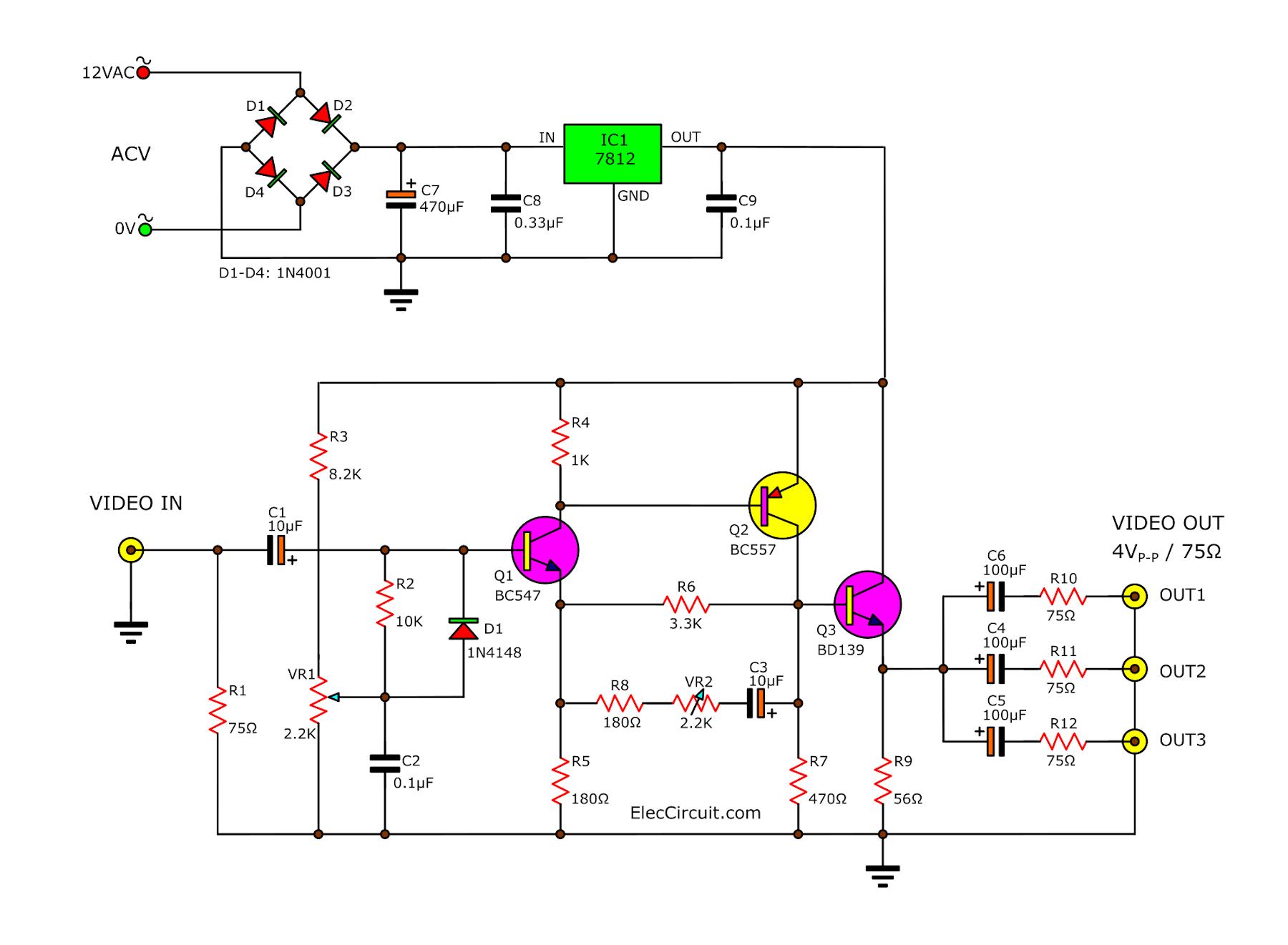 Video amplifier splitter using transistor BD137-BC547-BC557