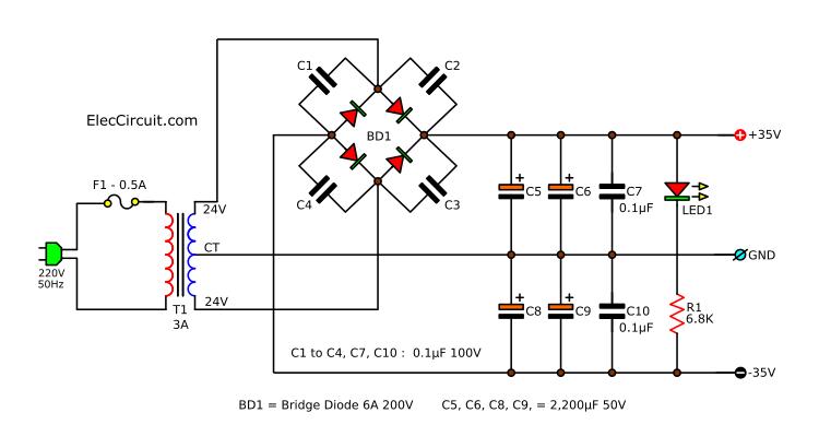 50W main amplifier 35V dual power supply circuit