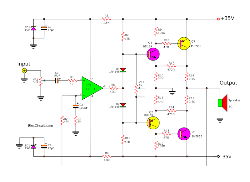Class AB, 65W Power Amplifier using LF351 ,TIP3055 and TIP2955