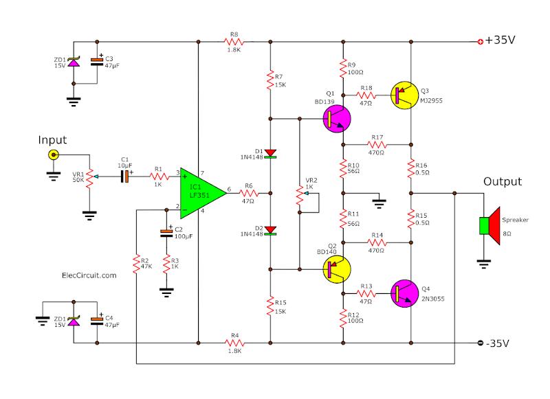 50W Main Amplifier Circuit 741 2N3055 MJ2955