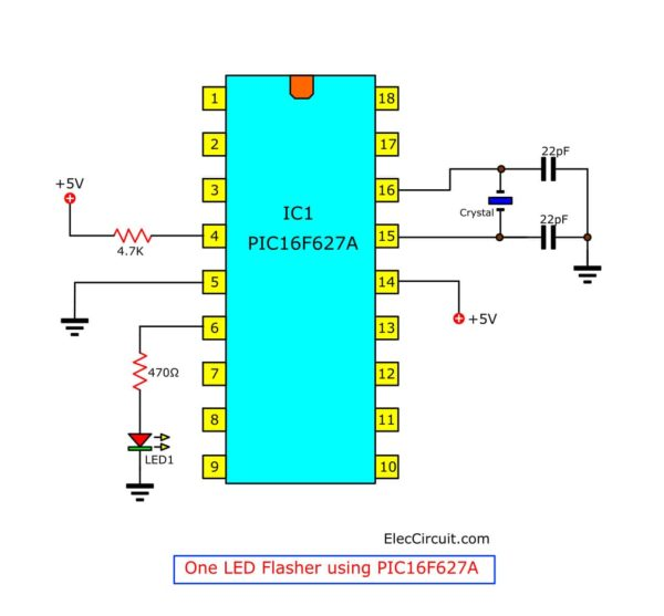 One LED Flasher PIC16F627