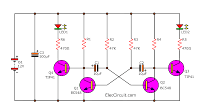Super 12v light flasher circuit using H1061