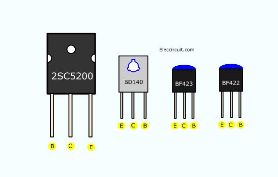 Transistors pinout 2SC5200 BD140 BF423 BF422