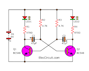 Amazing Led Flashers Circuits And Projects Using Transistor Eleccircuit Com Wiring Database Mangnorabwedabyuccorg