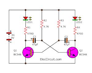 Blinking two LEDs using transistor BC548