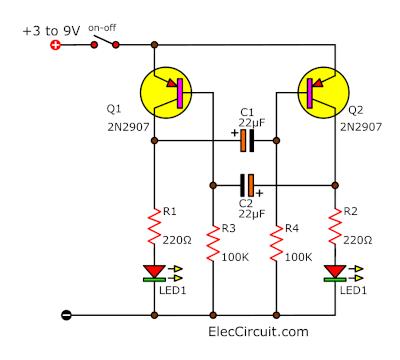 Dual LED Flasher using 2N2907