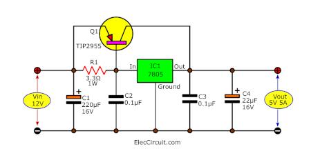 12V to 5V 5A converter using TIP2955