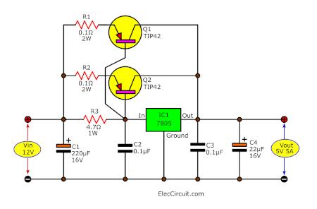 12V to 5V 5A converter using TIP42 x2